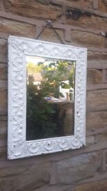 Vintage Antique White Metal Decorative Framed Wall Hanging Mirror Brass Rectangular