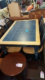 Blue Tiled Dining Table and Four Chairs