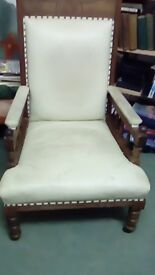 2 MatchingLeather Chairs & Chaise Longue, Genuine Edwardian Antique