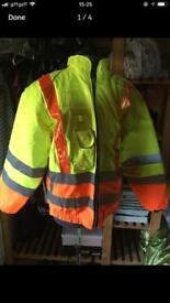 Men's / unisex high visibility reversible winter coat size xl + vests