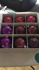 Purple Xmas baubles