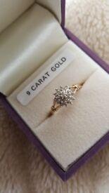 9 carat gold CZ ring
