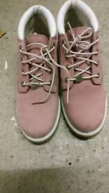 Pink Timberland leather boots