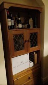 Pine Dresser with Lattice Glass Doors