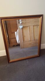 Bevelled edge, wood framed mirror