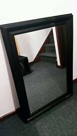 Solid Wood Black Gloss Mirror