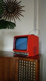 "Vintage / Retro square red 9"" Transistor Television TV in great working order"