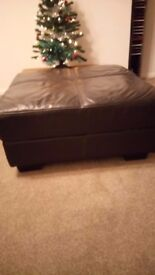Large Dark Brown/Black leather pouffe or foot stool