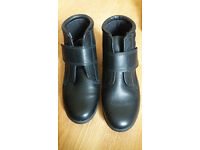 Womens size 5 Padders black leather easy to put on ankle boots, like new