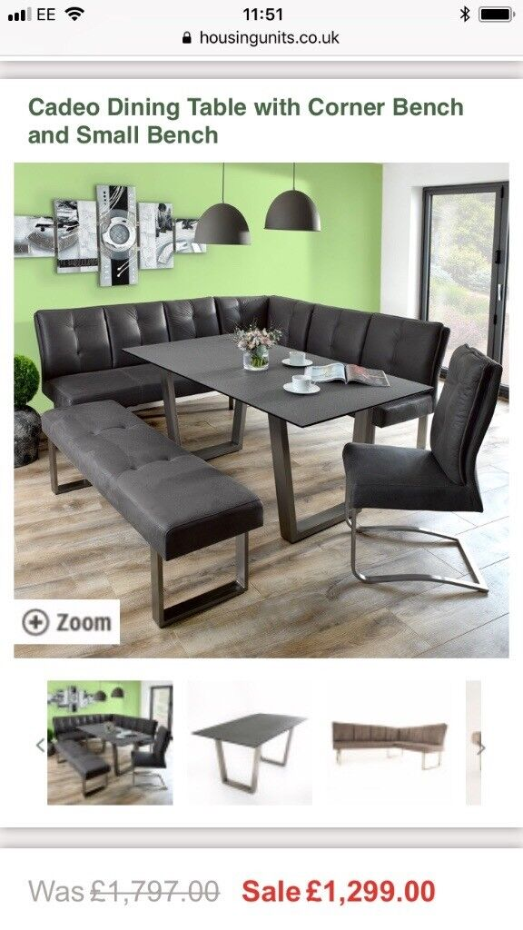 Housing Units Cadeo corner & bench dining set grey modern chrome 8 ...