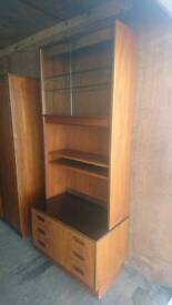 Original retro G-Plan book case with glass display cabinet