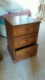 Tall Bedside Cabinet Very Spacious. 2 Brown 1 White Free Delivery Locally