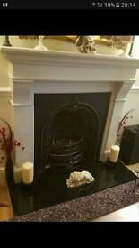 Living Flame coal effect gas fire and surround with granite hearth very ornate