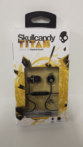 Q52 Skullcandy Titan Stereo In-Ear Buds Headphones w/Mic Headset (Black) NEW BOX