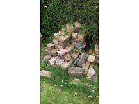 pile of approx 60 old house bricks