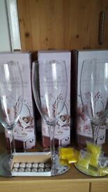 3 Giant champagne glasses with mirrors and tea lights, plastic crystals and water beads
