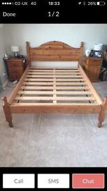 Pine double bed frame £40