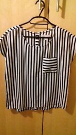 white and black striped top size 10