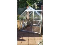 Eden Greenhouse (6x6) safety glass and self closing window. Free bench, propagators & accessories