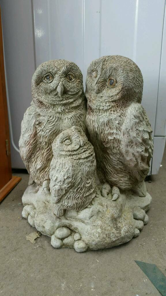 Owls reconstituted stone 3 owls garden ornaments in Sheffield
