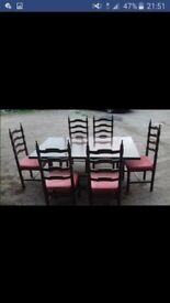 Solid Table and chairs that can seat 6/8 , comes with 6 seats . All good condition