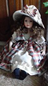 """large 24"""" long porcelin doll-top quality v expensive LARGE 2ft LONG (24inches) sitting PORCELIN DOLL"""