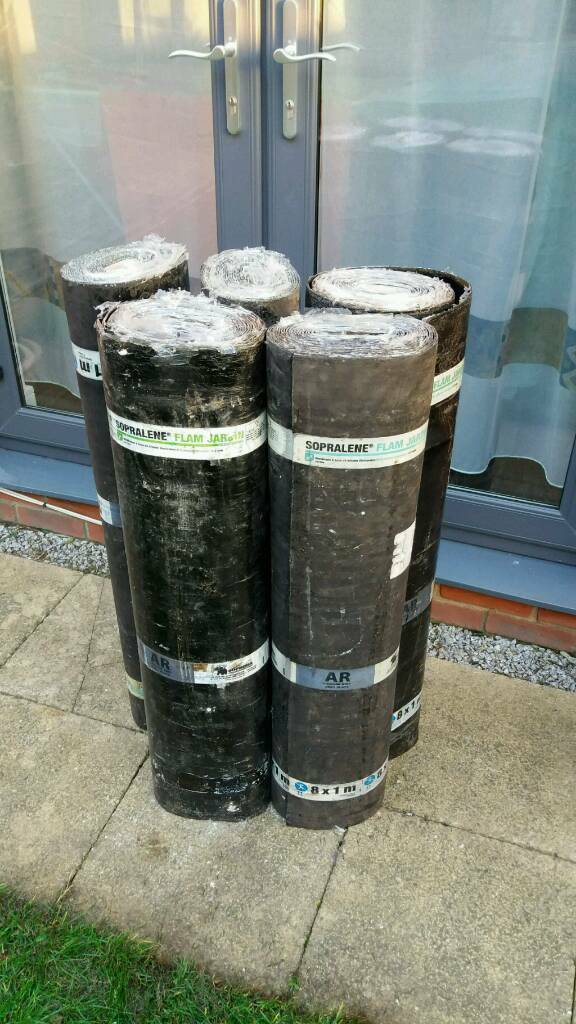 5 rolls of roof felt/top sheet torch on one with root barrier