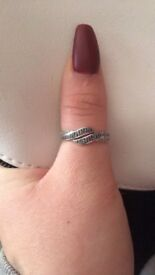 Blue and white Diamond ring sterling silver size Q