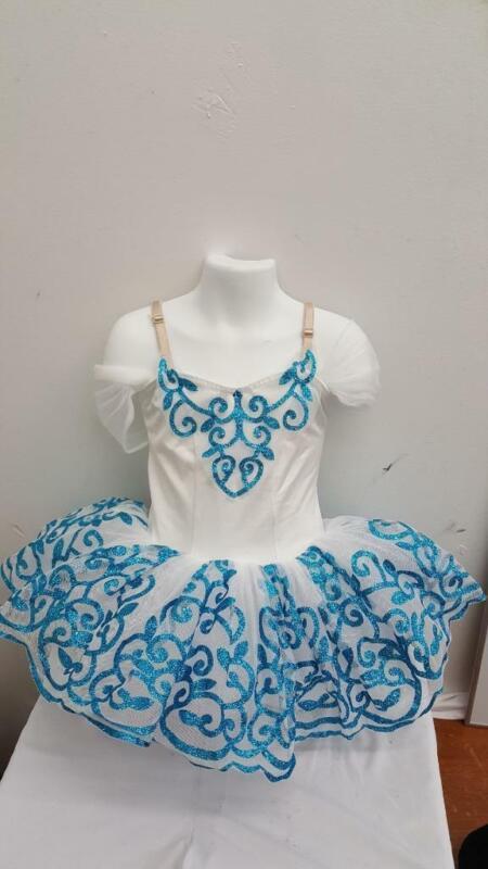 Dance Costume Small Child White Blue Glitter Princess Tutu Ballet Solo Pageant