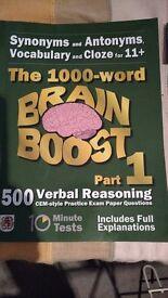 11 plus books. 1) Newell Tutors mock exam papers 2) verbal reasoning practice book 3) 1000 word book