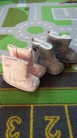 2 x pairs of girls boots age 12-18 months