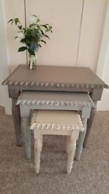 Beautiful nest of 3 tables, Shabby Chic, Hand Painted in Annie Sloan chalk paint