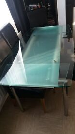 glass and crome table