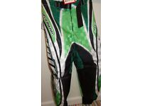 wulfsport race pants motocross motox quad green size 22 approx age 5-6 junior youth kids