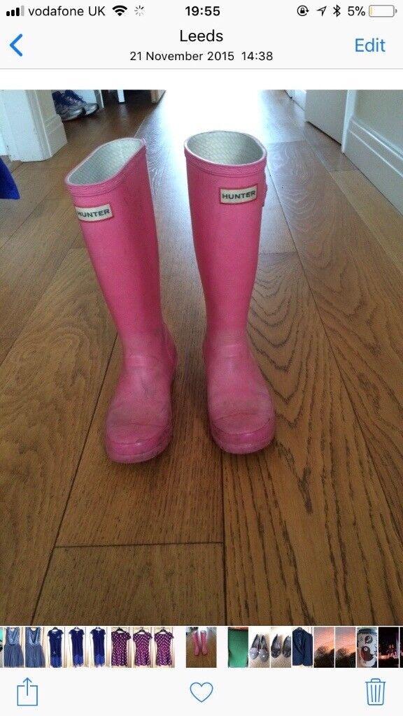 Pink Hunter wellies uk size 3