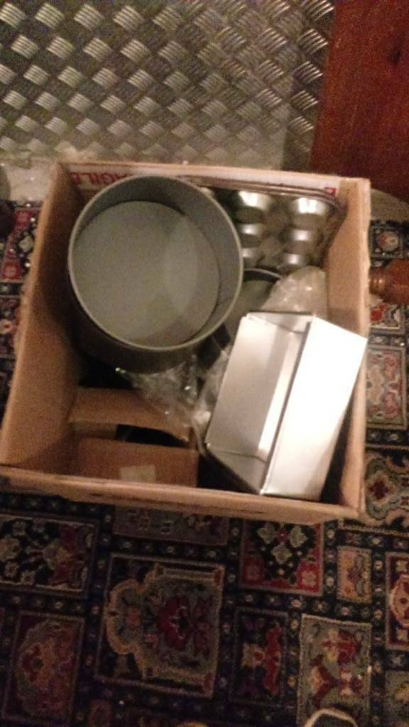 Box of litle cake tins