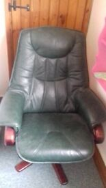 LEATHER SWIVEL CHAIR & FOOT STOOL £50