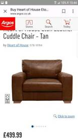 Tan leather 2seater and cuddle chair