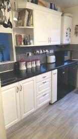 Kitchen cabinets including range cooker