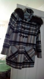 Blue ,grey check hooded coat with hood size 12 bargain