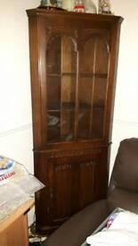 Dark oak corner display cabinet