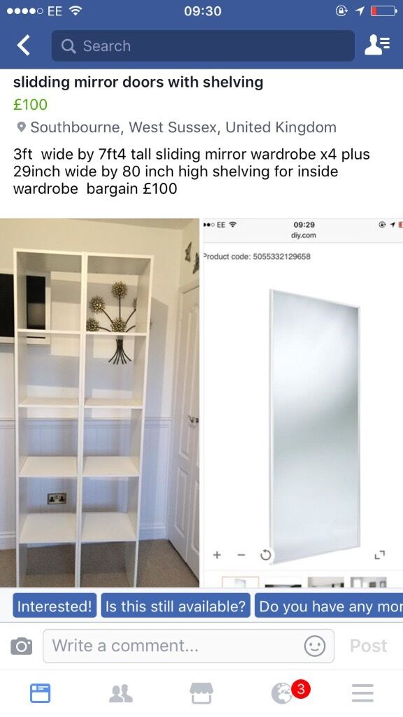 Sliding miror wardrobes x4 with shelving