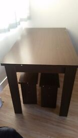 Table and 2 benches...good condition...good space saver