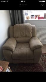 Faux suede recliner chair