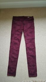 Ladies deep red cotton stretch jeans by Diesel. 30inch waste super slim-skinny low waist
