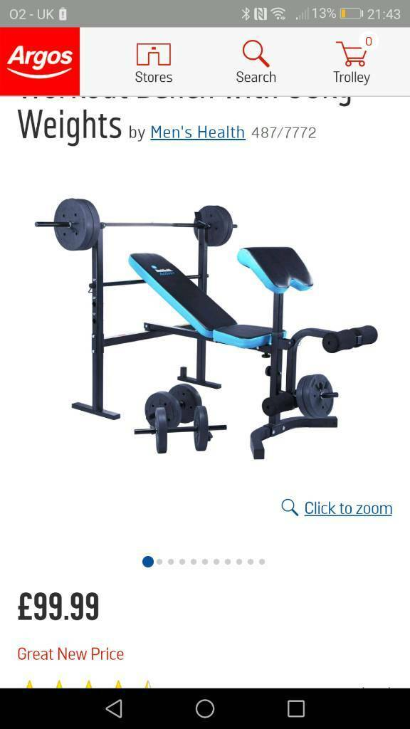 Argos Weight Bench And Weights And 3 Bars In Chester Le Street