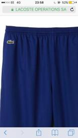 Men's small Lacoste trackpants in bright blue
