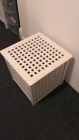 White spray painted storage box from ikea