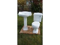 Victoriana style toilet and wash basin set
