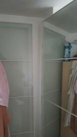 Ikea Pax White, Mirror and Frosted Glass Wardrobe Sliding Doors